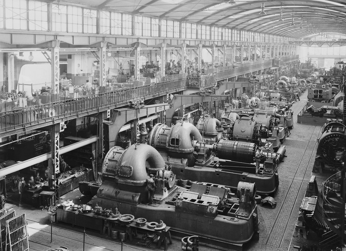 Factory organization par excellence – turbogenerator assembly, 1908