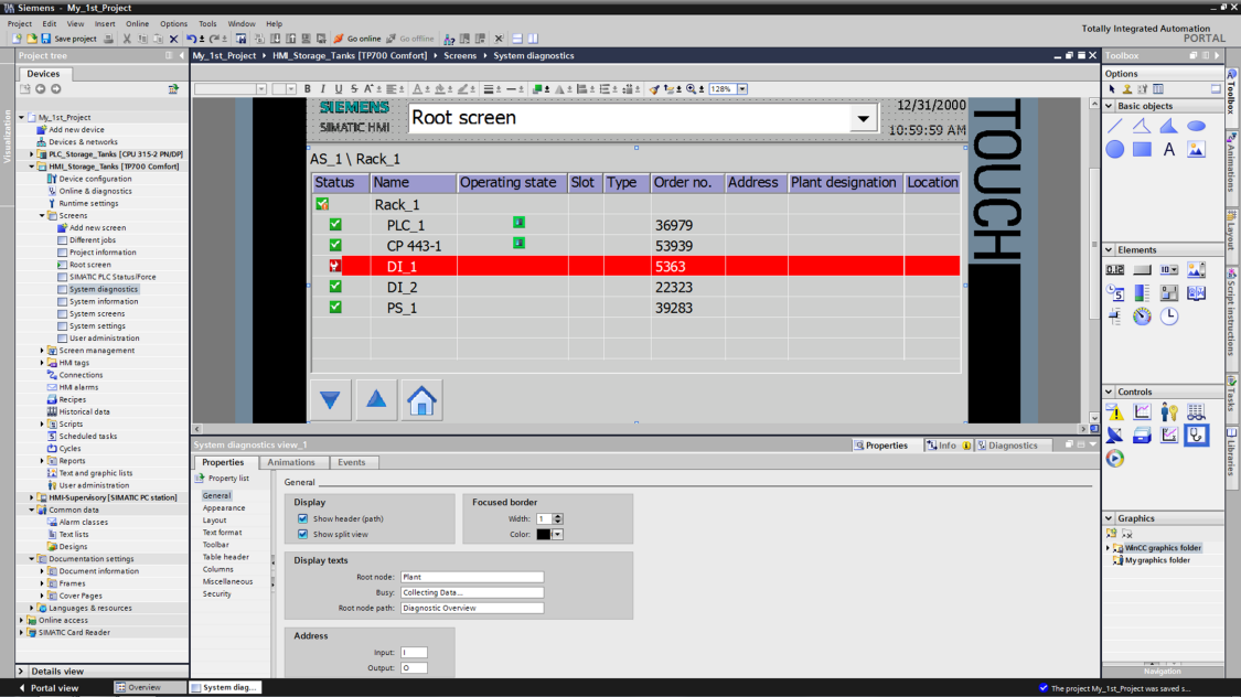 Integrated system diagnostics in SIMATIC WinCC