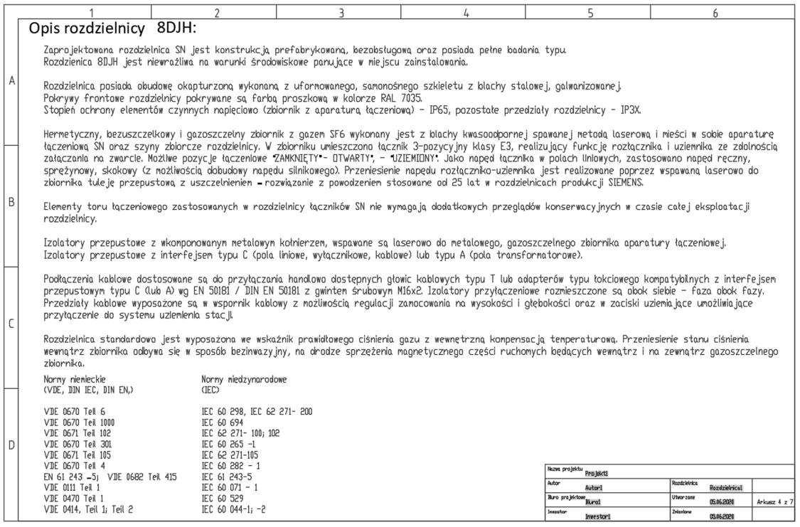 Arkusze z opisem rozdzielnicy 8DJH