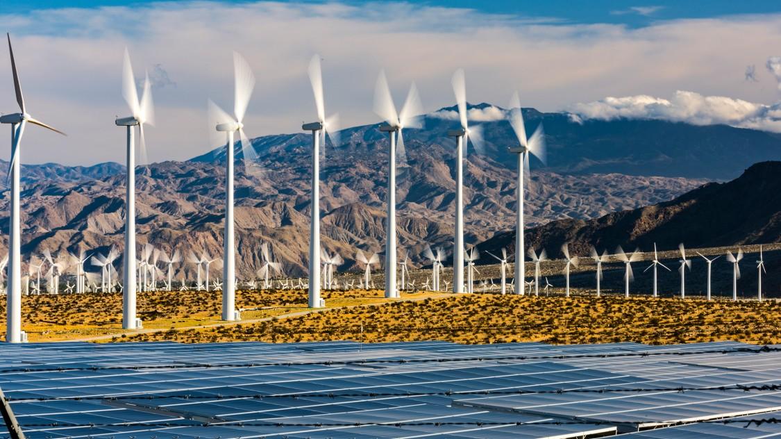 Solar and wind farm in California