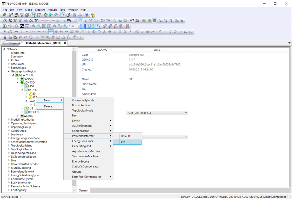 Templates are applied in CIMedit or in the Single Line Editor while creating new elements