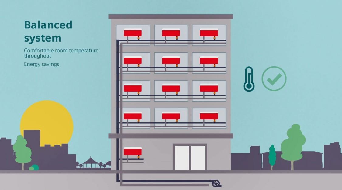 Building graphic illustrating balanced control