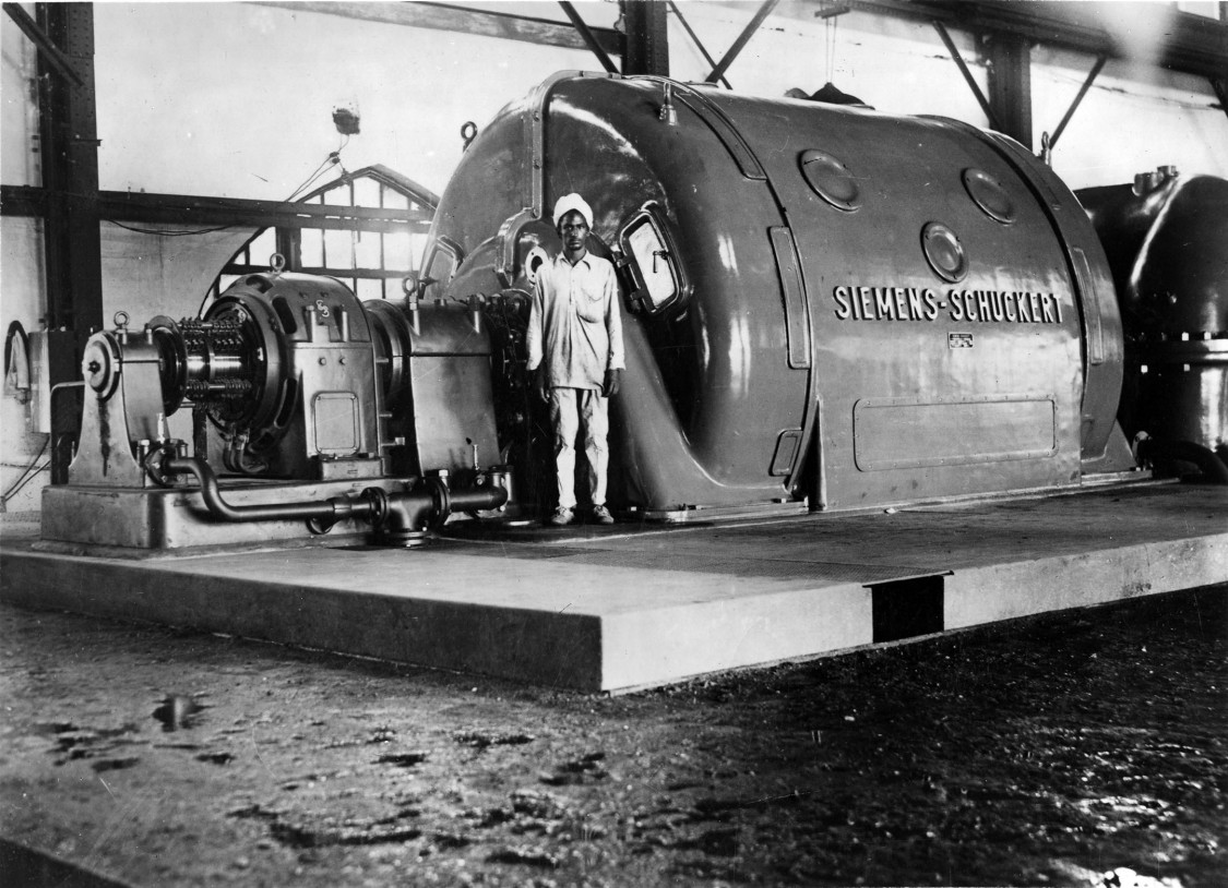 An early order – An SSW turbogenerator at the Tata Iron & Steel power plant, ca. 1910
