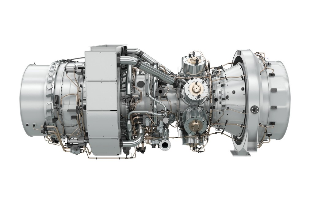 The picture shows the SGT-A65 TR gas turbine