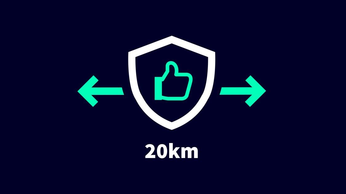 Fiabilité jusqu'à 20km