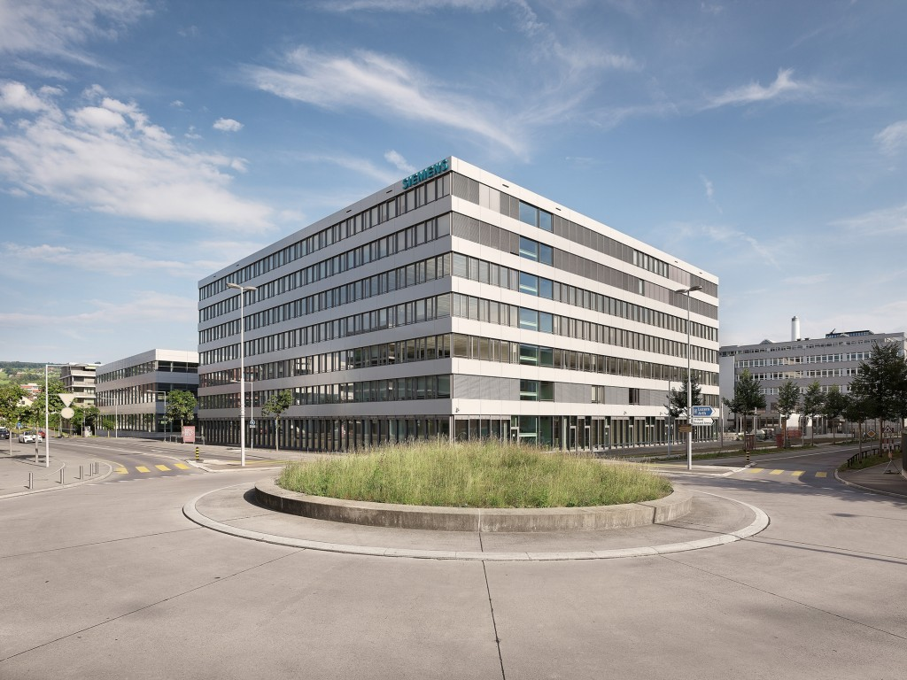 The picture shows the new production facility and office building of Siemens Building Technologies in Zug, Switzerland.