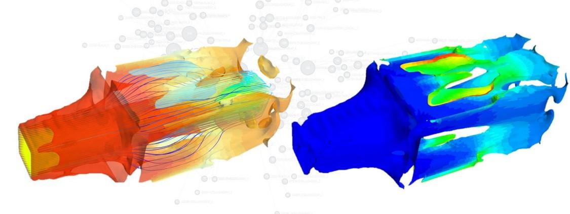 Schon fast Kunst – ein Beispiel für generatives Design – hier ging es darum, eine Topologie eines Bauteils zu finden, die den Druckabfall und die Durchschnittstemperaturdifferenz minimiert. Die Farben kennzeichnen die Flächen jeweils gleicher Temperatur. (Im linken Bild kennzeichnet rot hohe Temperatur, im linken blau). Die Linien im linken Bild zeigen zusätzlich noch, mit welcher Geschwindigkeit das Bauteil durchströmt wird – blau: niedrige Geschwindigkeit, rot: hohe Geschwindigkeit.