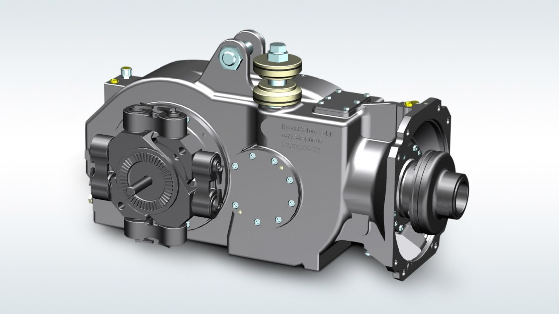 Bevel-helical gear units for low-floor trams