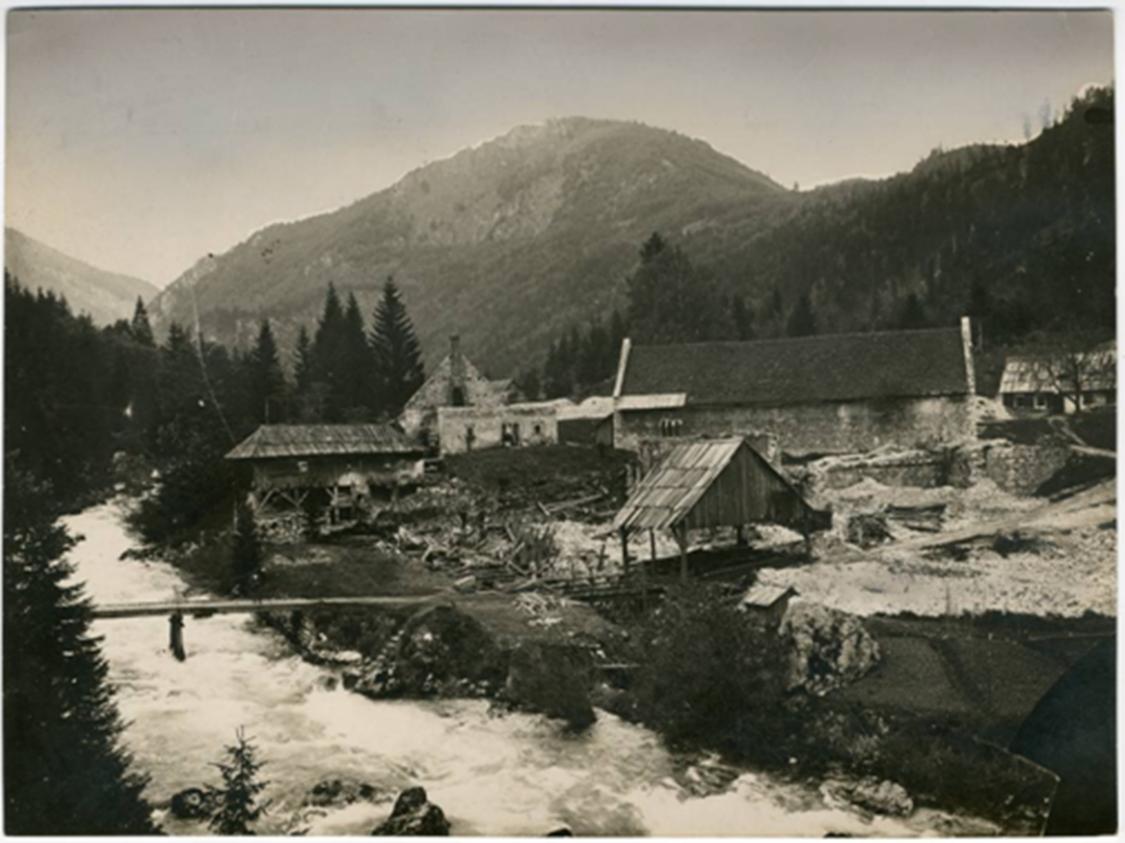 Fužine na Radovni, okoli 1910. Vir: Mestni muzej Ljubljana