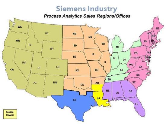 USA | Process Analytics Direct Sales Regions
