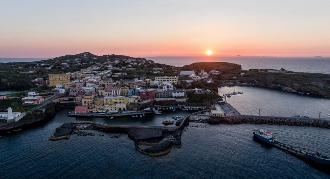 Ventotene island in sunset