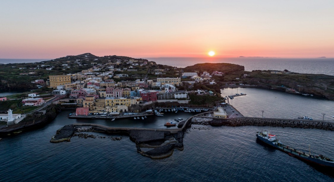 Ventotene island in sunset
