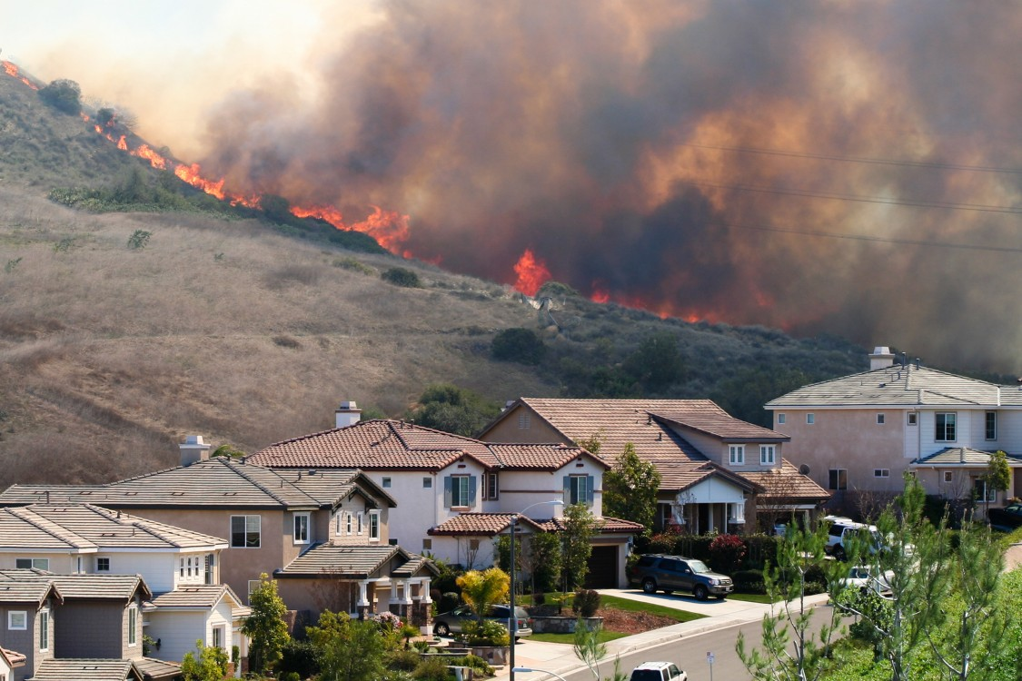 brush fire behind row of homes