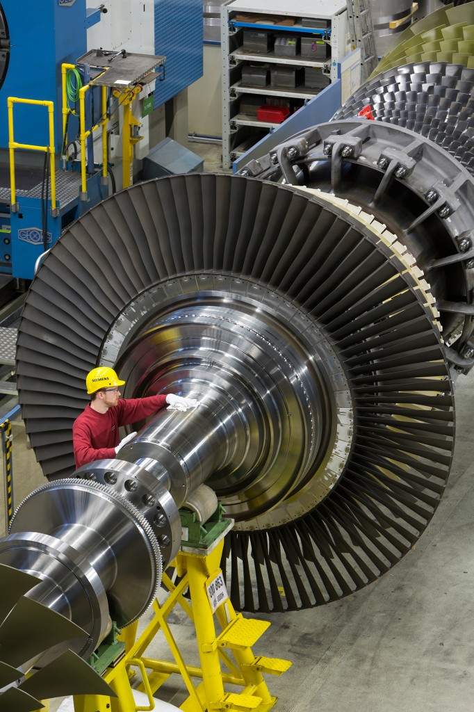 SGT5-8000H gas turbine in the Siemens assembling halls in Berlin