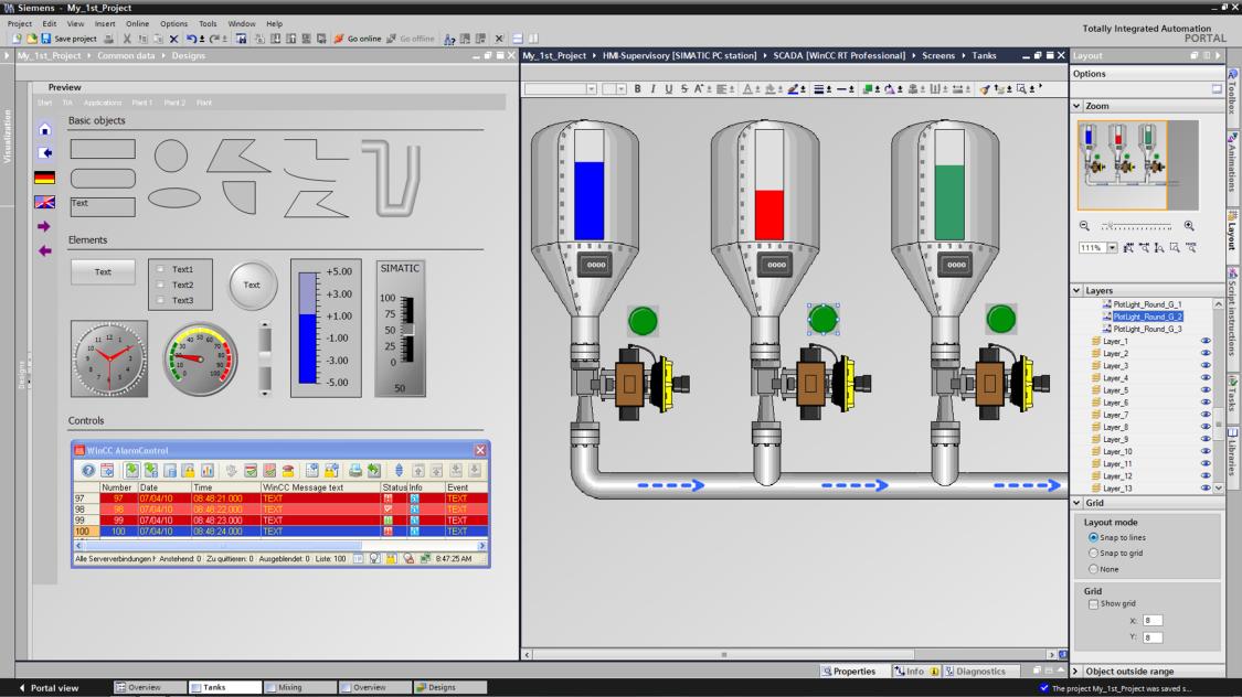 SIMATIC WinCC ermöglicht effizientes Engineering mit einer intuitiven Benutzeroberfläche