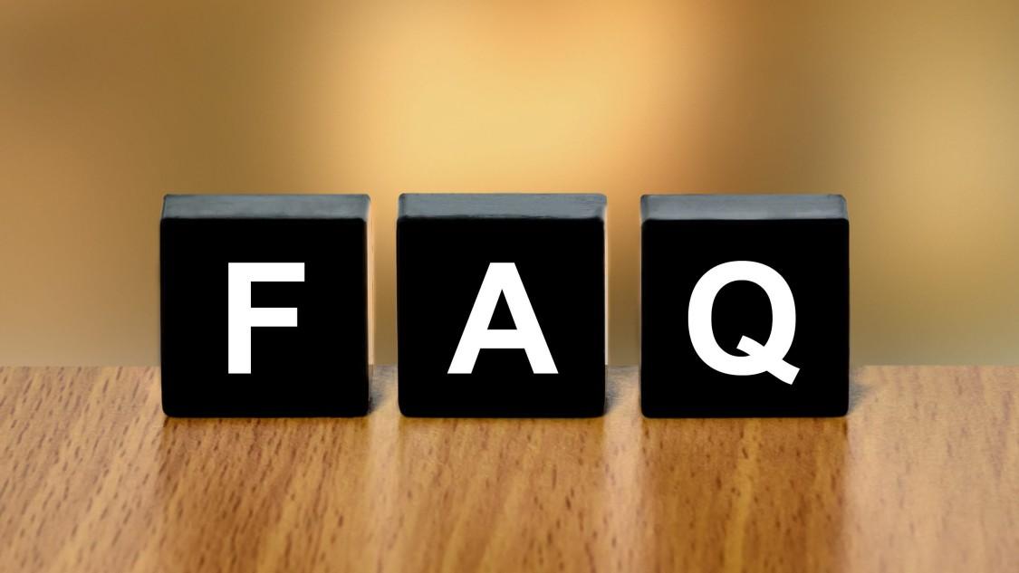 letter blocks spelling FAQ