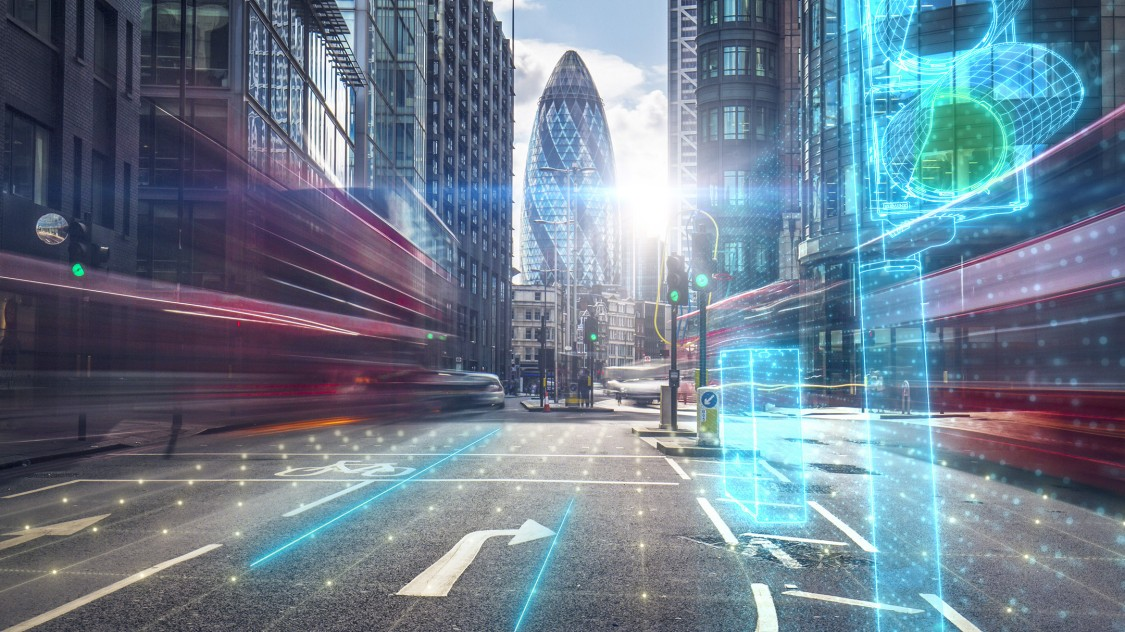 London financial district with digital overlay of traffic lights