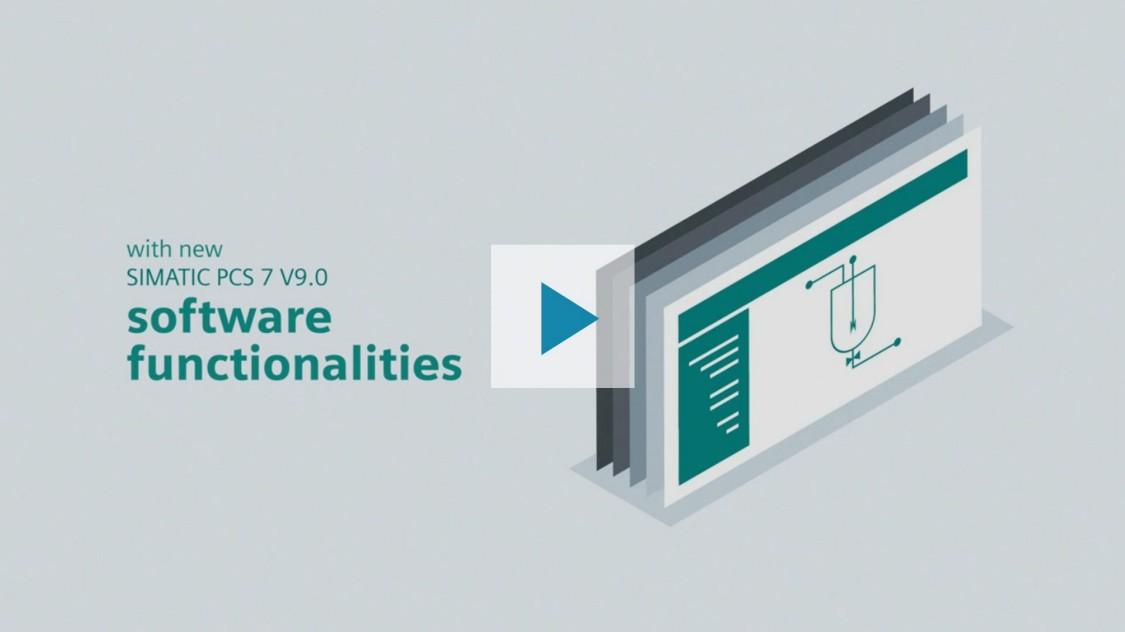 La imagen muestra que SIMATIC PCS 7 V9.0 ofrece una gama de innovadoras funcionalidades de software. El símbolo de esto es una serie de monitores colocados uno tras otro. El contenido de la pantalla es visible en el monitor de enfrente: una interfaz de usuario típica de la industria de procesos. Al pulsar el botón de reproducción se reproduce un vídeo que proporciona una introducción más detallada del producto.