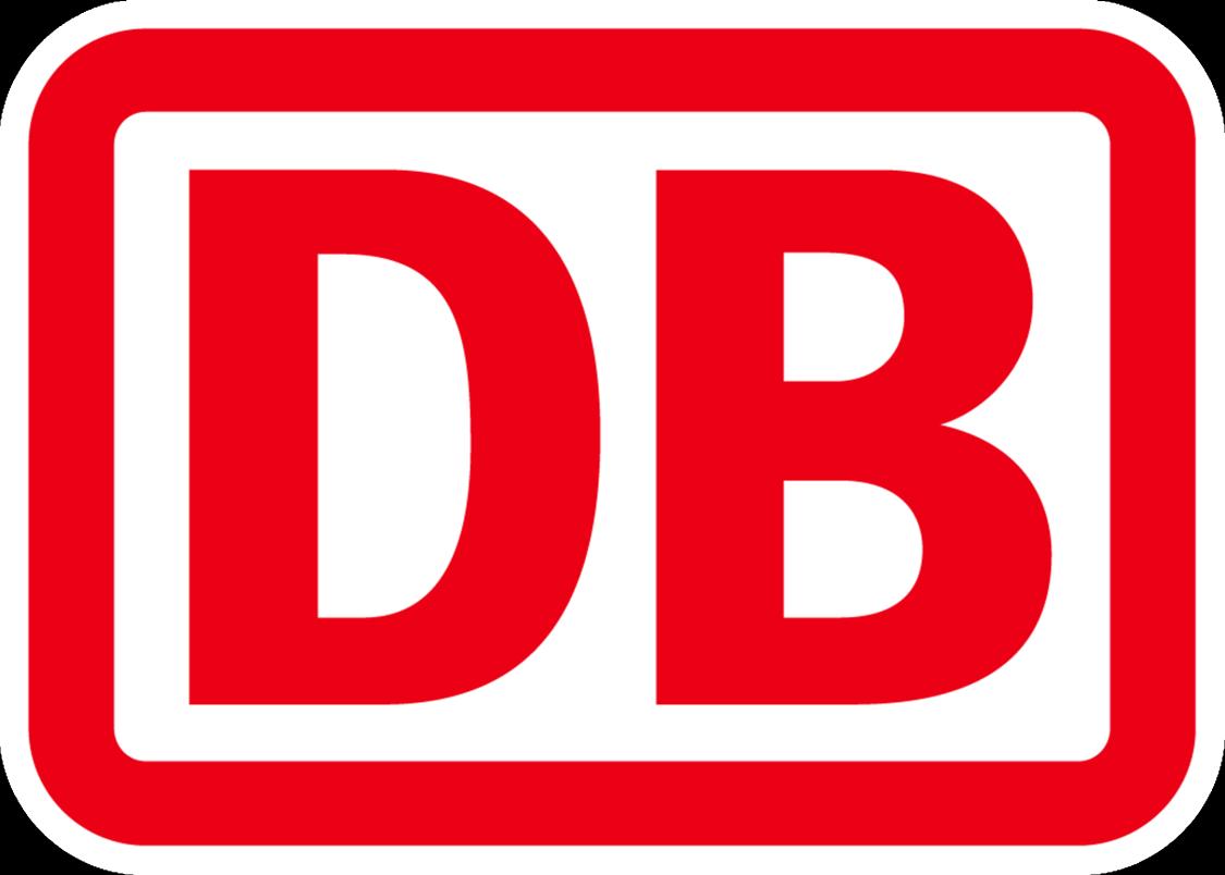 Logo der Deutschen Bahn, die mit Siemens Mobility gemeinsam an der Entwicklung eines Wasserstoffzuges und der entsprechenden Infrastruktur arbeitet.