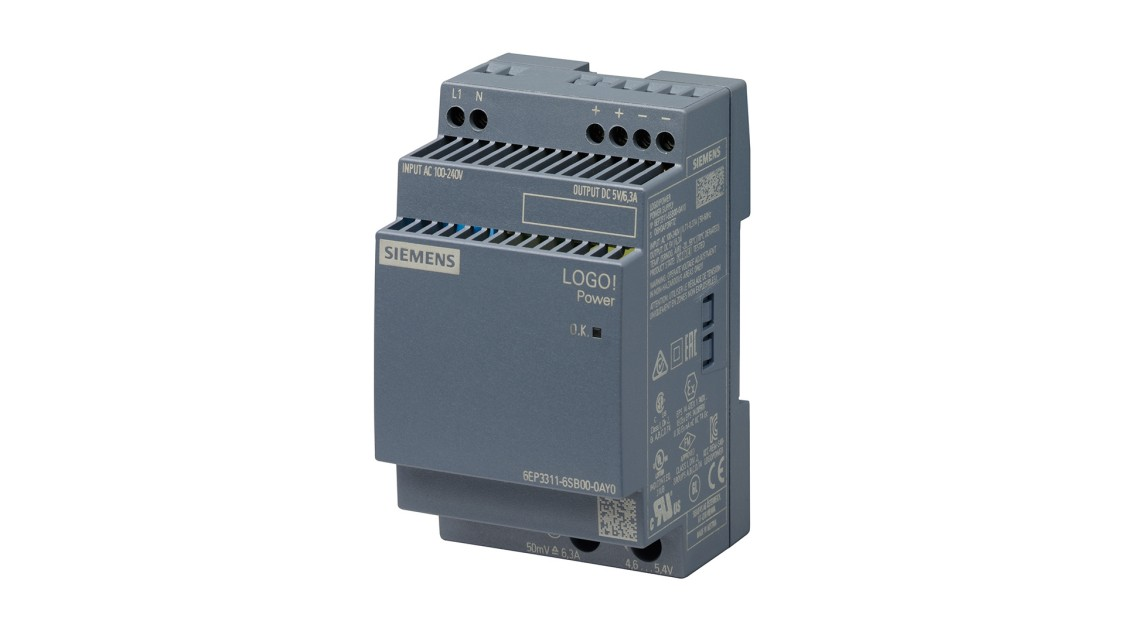 Product image LOGO!Power, 1-phase, 5 V/6.3 A