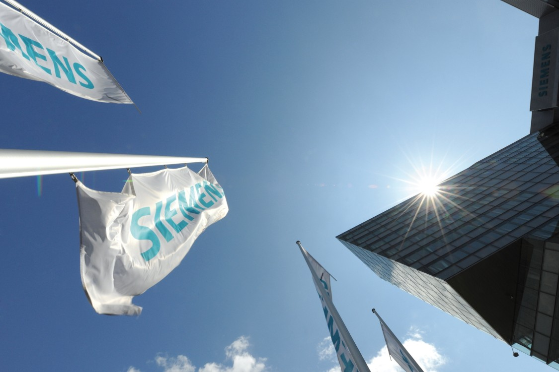 Siemens building and flag