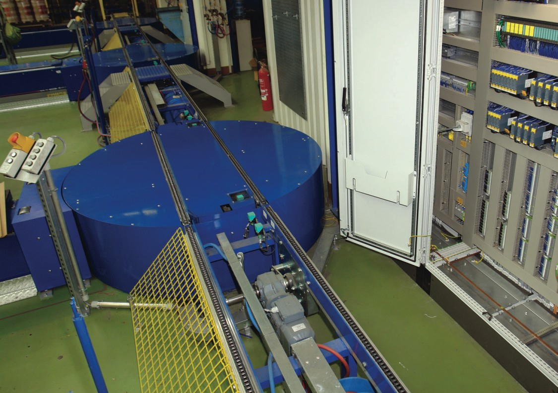 Space-saving controls for assembly conveyors complying with safety requirements
