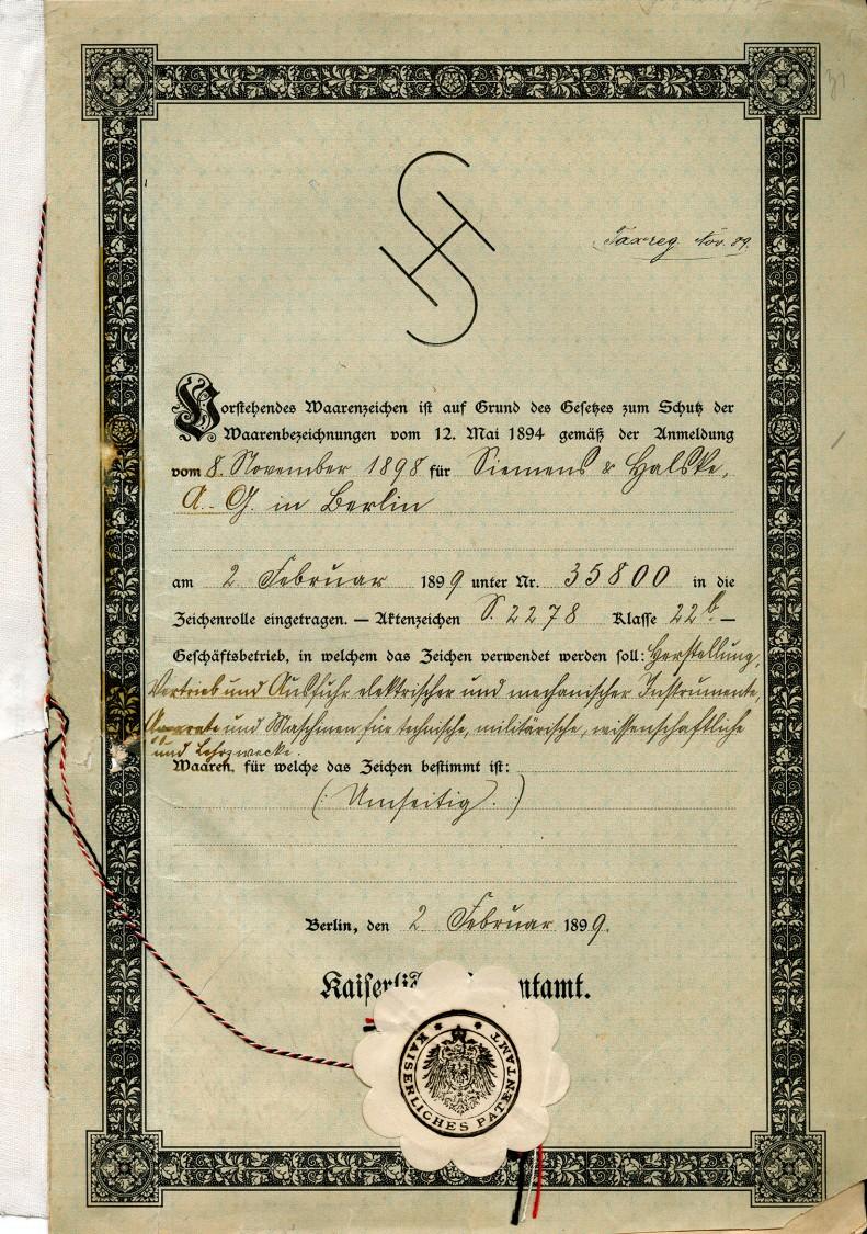 Amtlich besiegelt – Registrierungsurkunde für das Warenzeichen, 1899