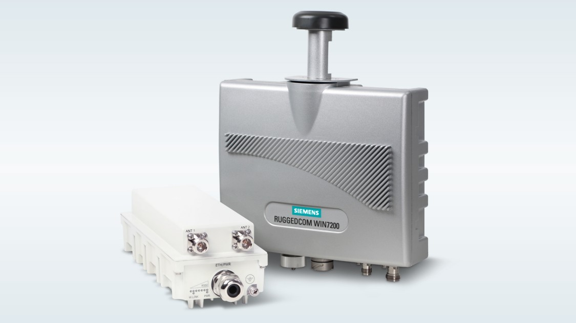 Rugged wireless equipment of Siemens RUGGEDCOM WIN for AeroMACS subscriber units and base stations