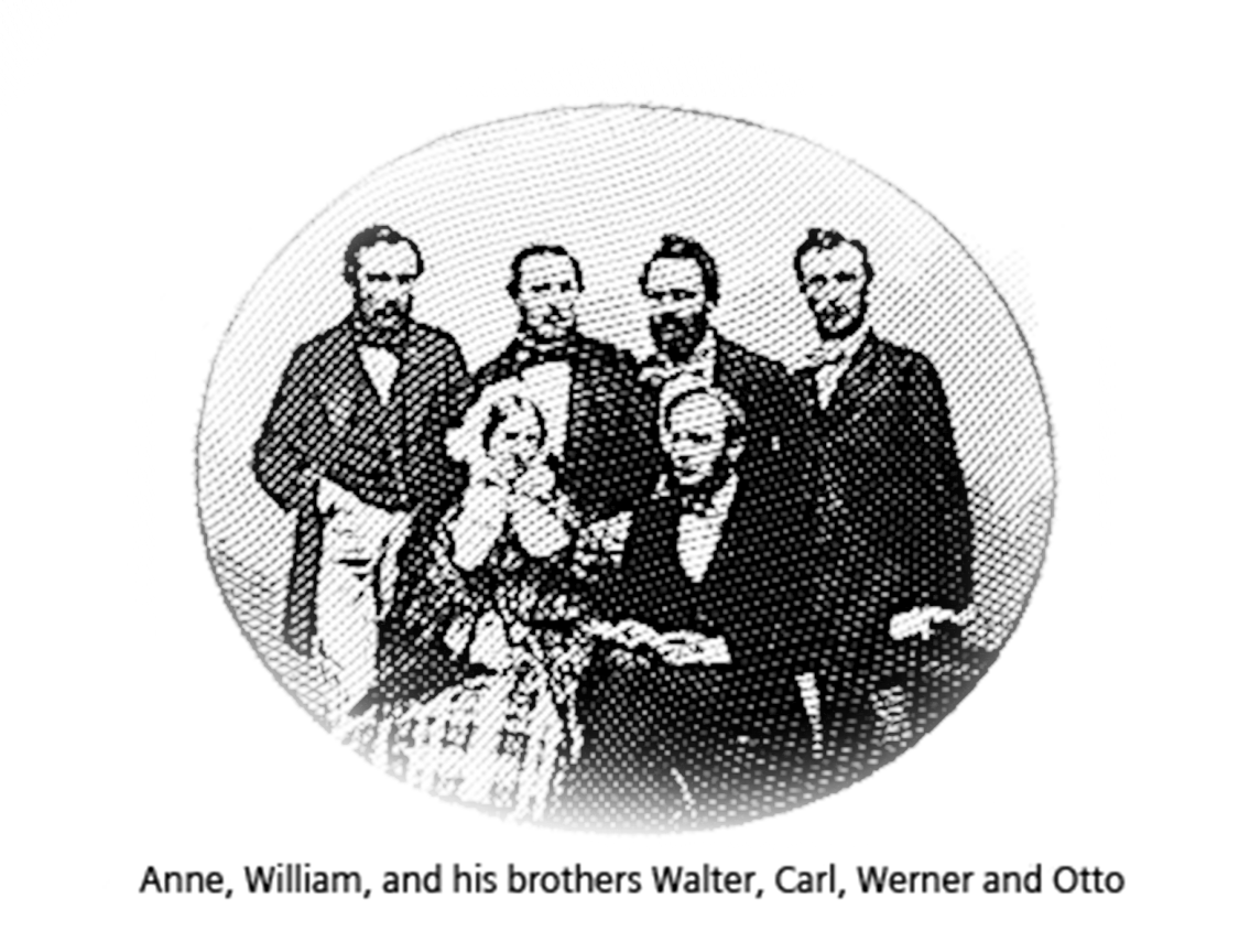 Wilhelm married a Scot, Anne Gordon and on the day of his engagement he took British citizenship and changed his name from Carl Wilhelm to Charles William Siemens.