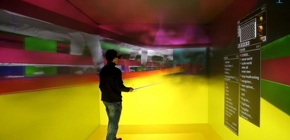The propagation of smoke is visualized using virtual reality