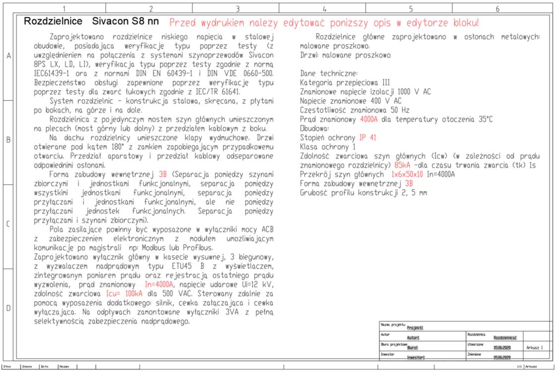 Arkusz z opisem rozdzielnicy SIVACON S8