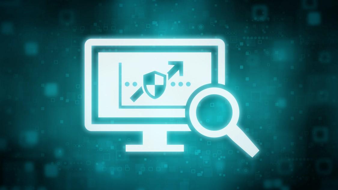 Ein grünblaues, digitales Symbol zeigt einen Computerbildschirm mit einer Lupe