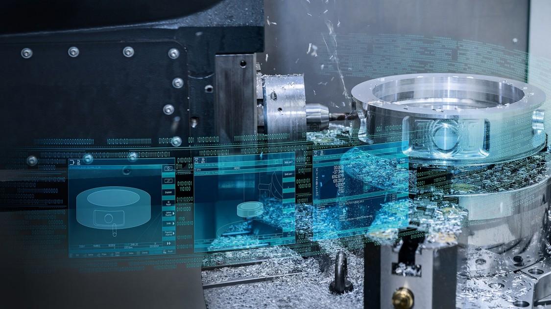 detalhe de motor com filtros azuis representando o controle sinumerik