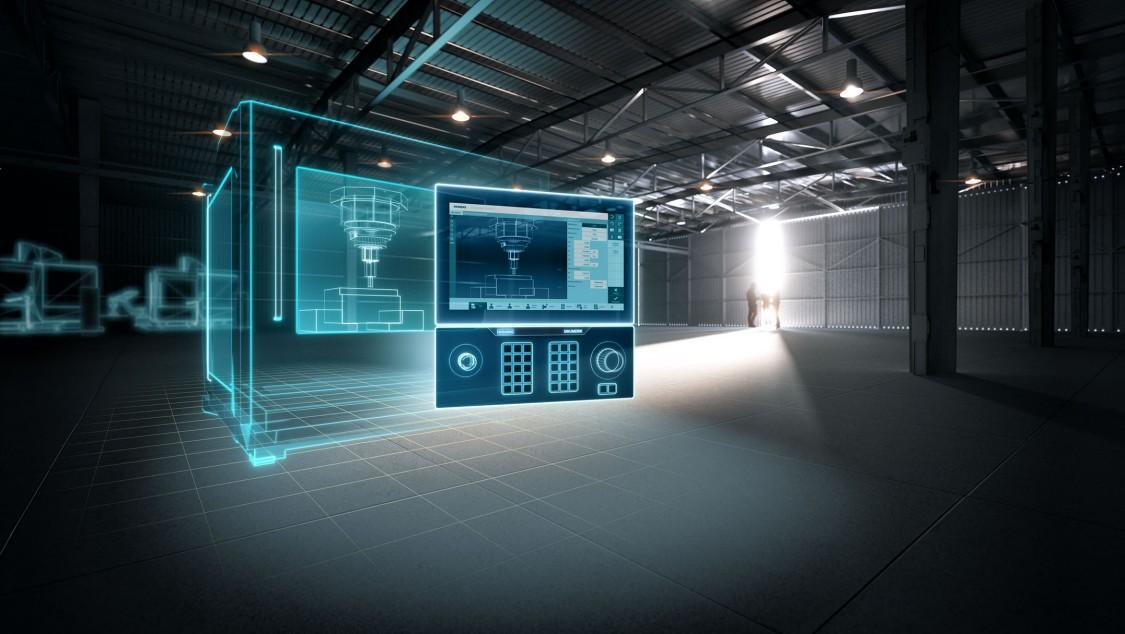 SINUMERIK ONE und virtuelle digitalisierte Werkzeugmaschine in einer Fertigungshalle