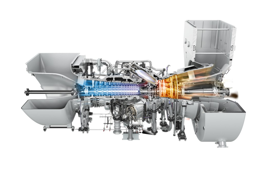 The picture shows the Siemens SGT-750 industrial gas turbine.