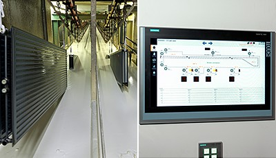 For Stelrad, it was important to integrate the new automation structure into the existing system landscape. All components used by Siemens, such as the Simatic S7-1200 or S7-1500, PLC controller, Sinamics G120C drives, Sirius 3RW44 soft starters and the Simatic comfort panels shown here communicate via the open Industrial Ethernet standard Profinet.