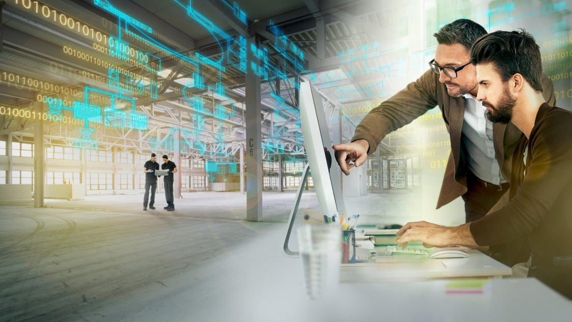 The motif shows a still empty, light-flooded factory building on the left, in the middle of which two people are looking at a tablet. In the right half of the picture: two men looking at a computer monitor together. The motif is a digital layer in transparent green, which increases from right to left increasingly in size and intensity.