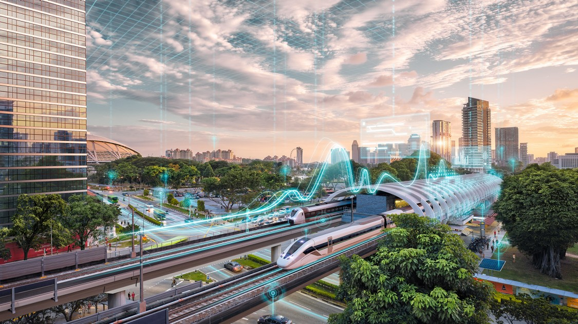 Digital simulation of high speed train car and city