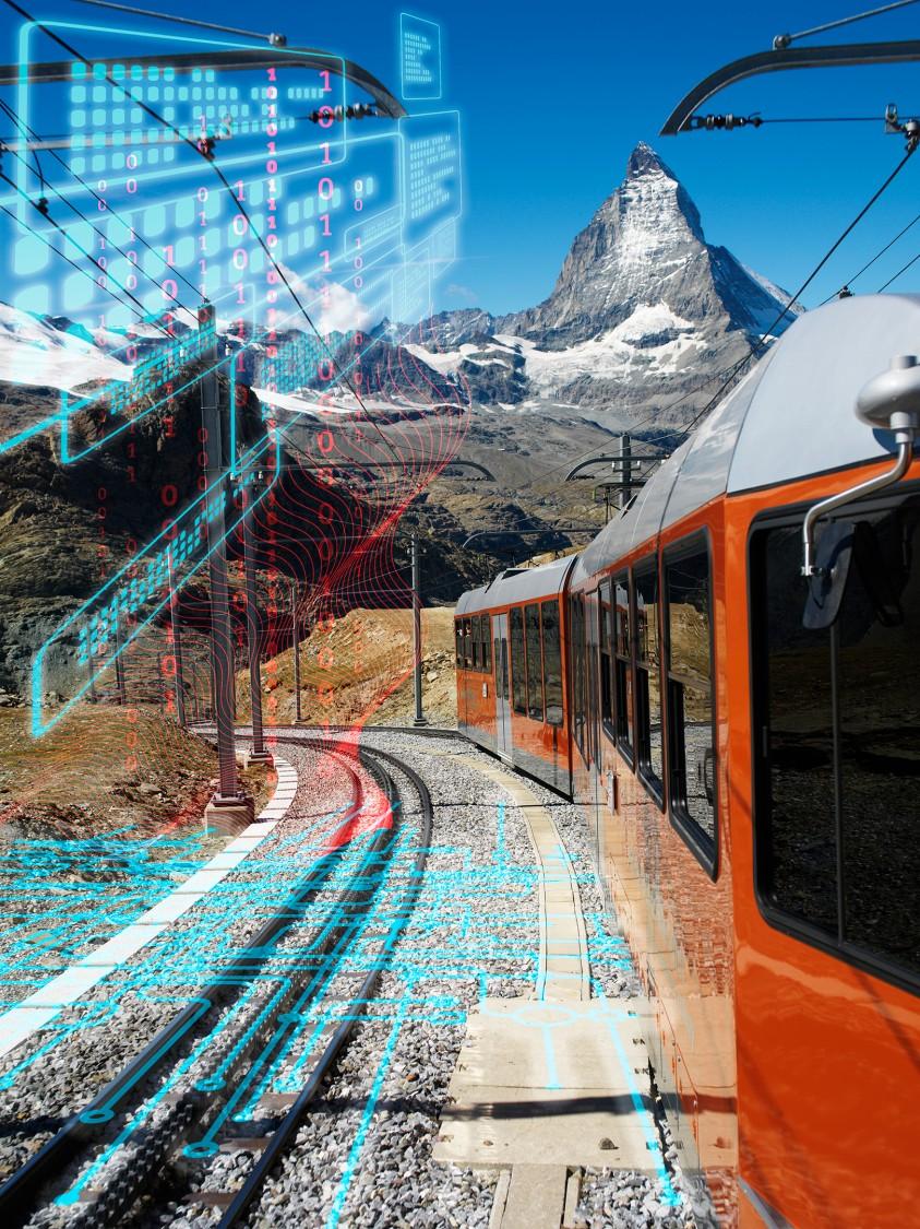 MGBahn fährt in Richtung des Matterhorns