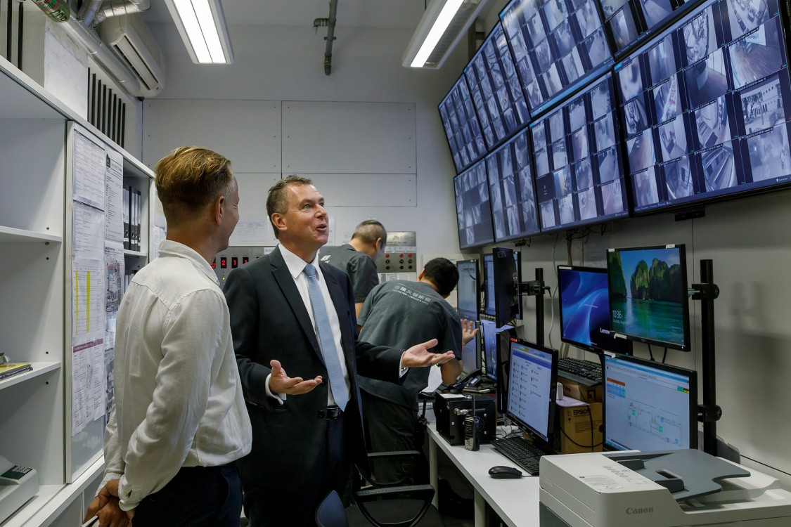 Tai Kwun building management control room with Graham Tier, HKJC