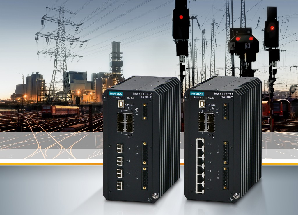 Das Bild zeigt die Ethernet Switches Ruggedcom RSG908C und Ruggedcom RSG910C.