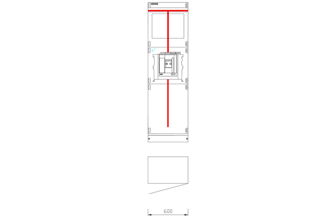Przykładowy widok pola rozdzielnicy SIVACON S8 z wyłącznikiem powietrznym