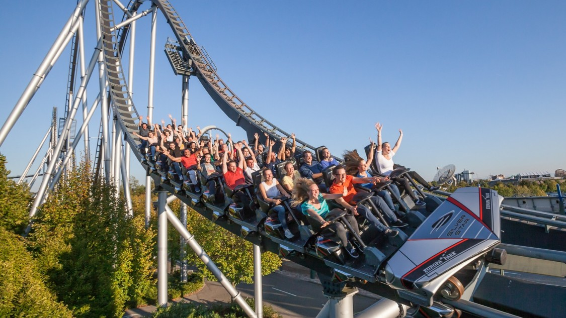 Roller coaster at Europa-Park in Rust in full swing