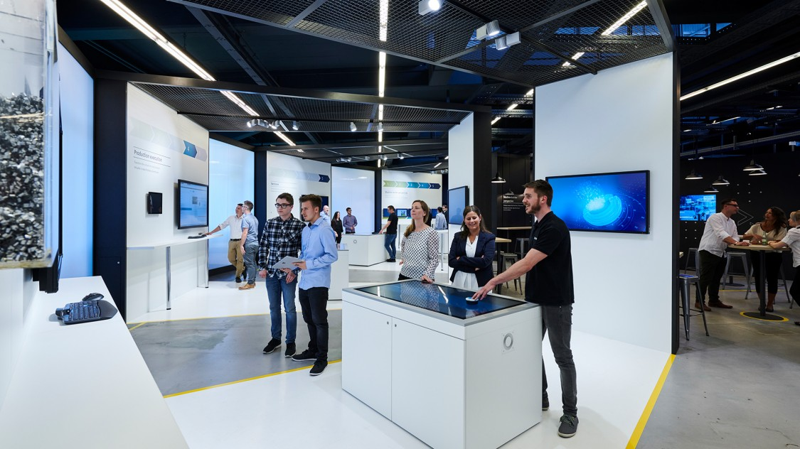 Showroom stations with customers