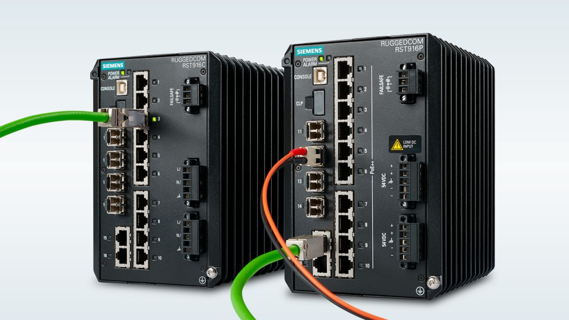 A photo of the RUGGEDCOM RST916P and RST916C compact ethernet switches