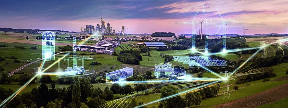 vista de uma zona rural com caminhos azuis de luzes representando a distribuição de energia entre as fazendas