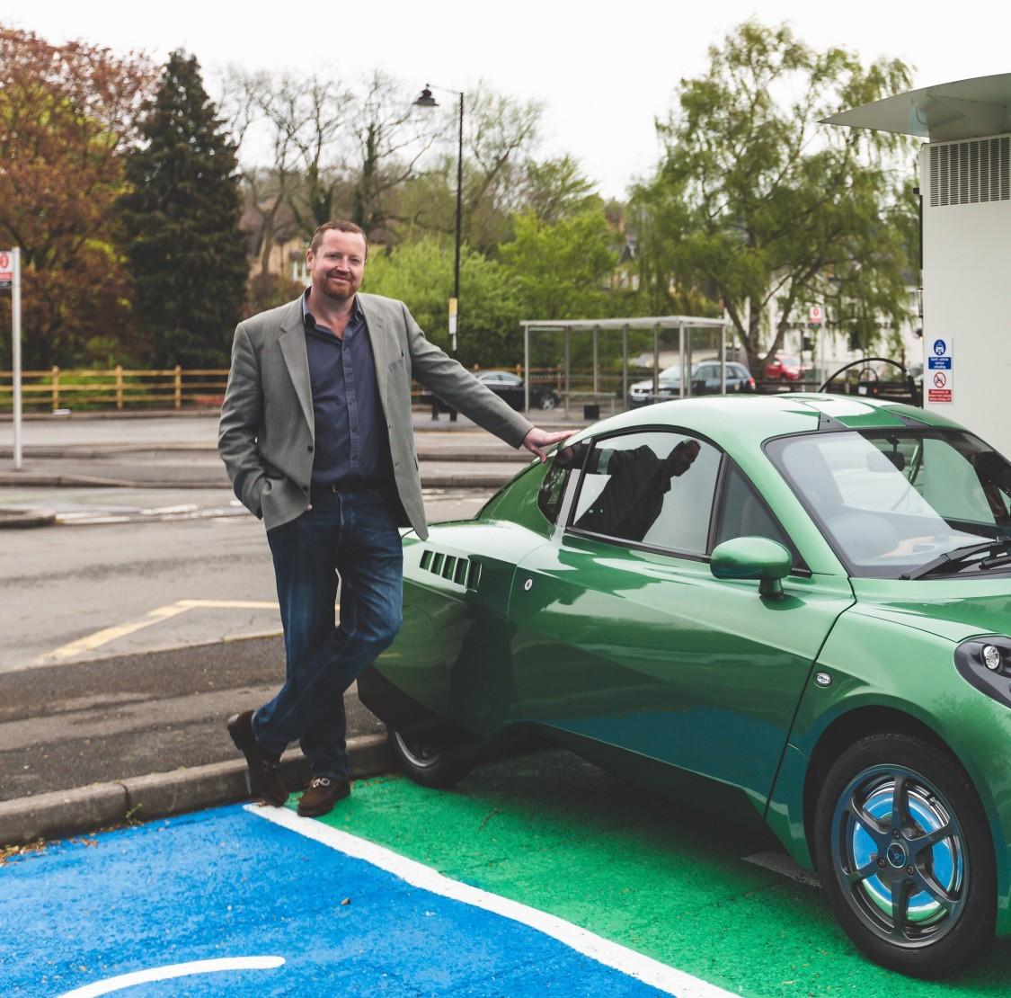 Chris Foxall with hydrogen powered Rasa car