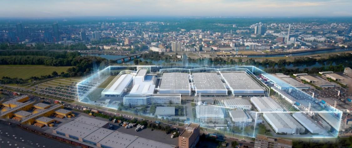 Budova výrobního závodu s grafickými prvky digitalizované průmyslové bezpečnosti