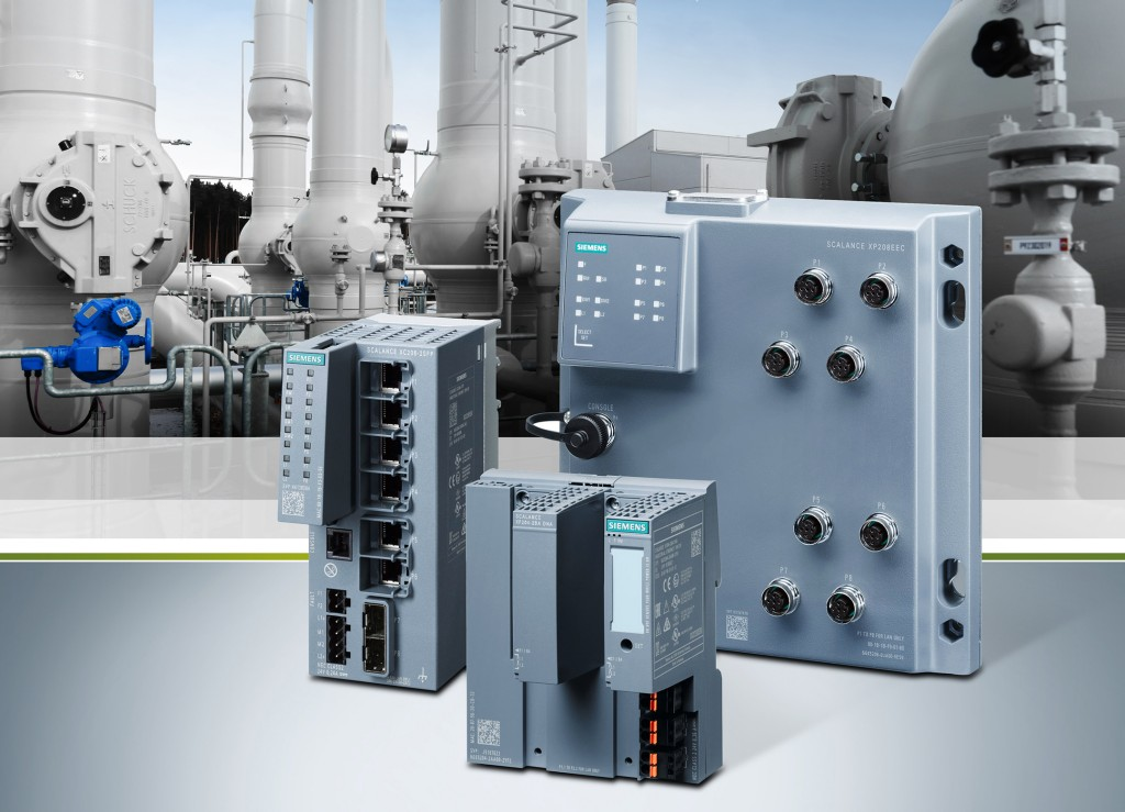 Das Bild zeigt die neuen Varianten der managed Produktlinie Scalance X-200, Scalance XF-200BA, Scalance XC-200EEC und Scalance XP-200EEC.