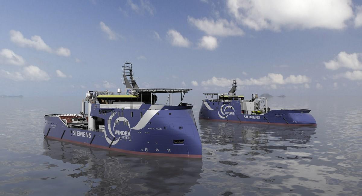 """Das Bild zeigt das neue Wind-Serviceschiff """"Windea la cour"""" von Siemens im Hamburger Hafen."""